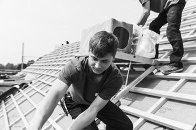 Dacheindeckung mit Dachziegeln