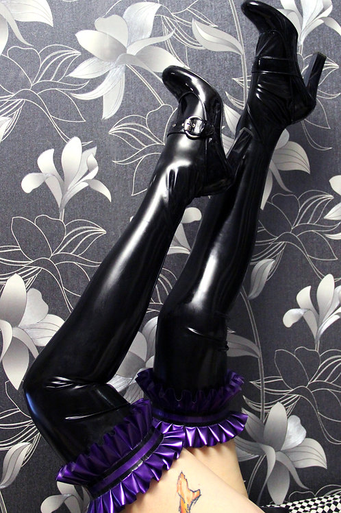 Footless Latex Stockings with Frills
