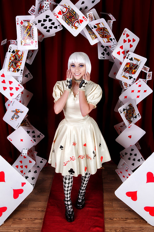 Alice in Wonderland latex skirt and top (ready to ship)