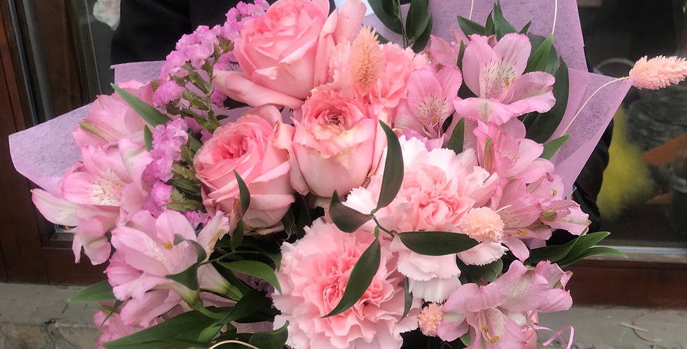 Pale pink art mix