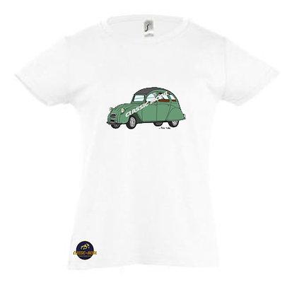 2 CV verte / Tee-shirt Fille