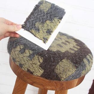 22. Fabric Materials: Wool. Dyes: Mirobalan Extract & Indigo Mix.