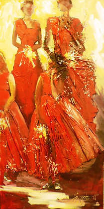 Bridesmaids in Red (Acrylic/Mixed Media)