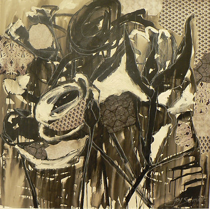Abstract in Black & White (Mixed Media)