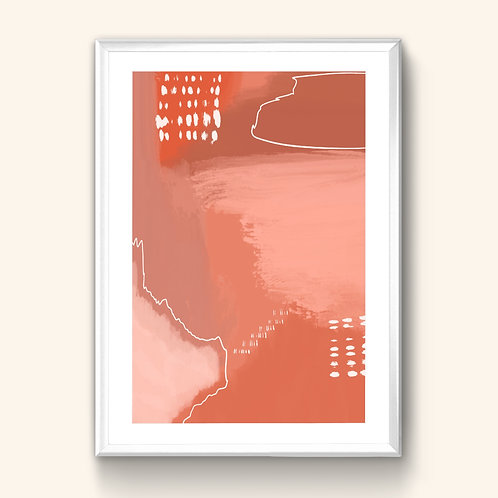 Abstract Print - Peach & Red
