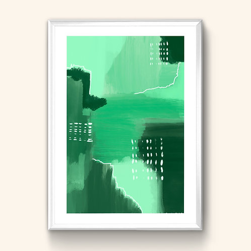 Abstract Print - Deep Green