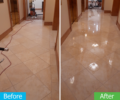This is before and after picture of a marble floor that looked dull. After restoration and polishing it restored the floor's shine.