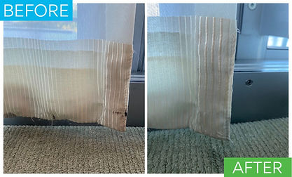 This is a before and after picture of sheers being deep cleaned on the rod. After deep cleaning and stain removal the sheers are saved and do not need to be replaced.
