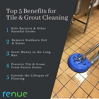 This picture shows the top 5 benefits for tile and grout cleaning. Tile and grout cleaning kills bacteria and other harmful germs. Tile and grout cleaning helps remove stubborn dirt and stains. Tile and grout cleaning saves money in the long run. Tile and grout cleaning protrects tile and grout in the long run. Tile and grout cleaning protects the tile and grout from future stains. Tile and grout cleaning extends the lifespan of flooring.