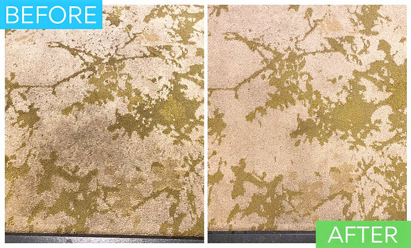 Before and after photo of a condo public carpet that was deep cleaned