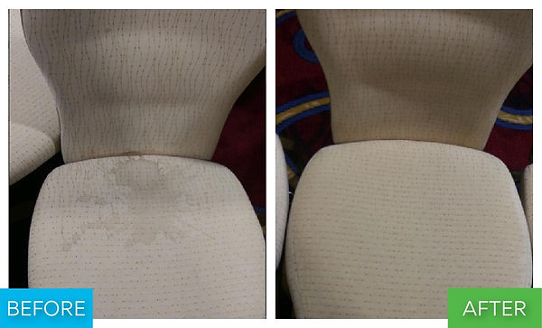 This is a before and after picture of an upholstery banquet seat that had a bad coffee stain on it. The after picture shows the coffee stain removed from the upholstery chair.
