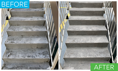 This is a picture of a before and after on the stairs. Before powerwashing they were stained with black tar. After the stairs look really clean.