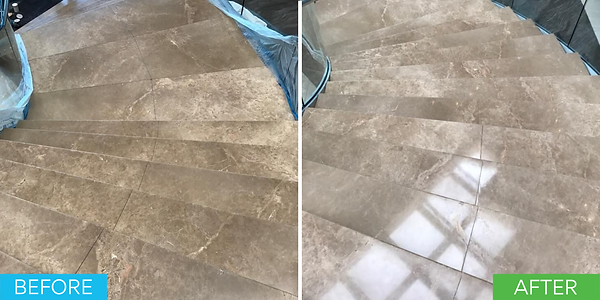 This is a before and after picture of dull looking marble stairs being restored and polished. The after picture shows the stairs true shine.
