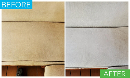 This is a before and picture of cabana upholstery being cleaned after browning. In the after picture the upholstery's brown look is gone and has been brighted to its original color.