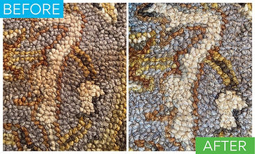 This is a before and after of a coffee stain on a oriental wool area rug. After stain removal the coffee stain in the oriental area rug is completely removed saving the wool area rug from needing to be replaced.
