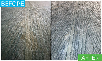 This is a before and after of an expensive area rug that was damaged by a stain and previous stain removal attempt. After stain removal the yellow stain is removed and the area rug is saved.