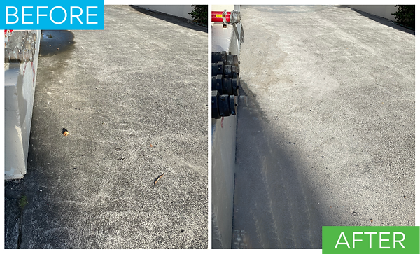 This before and after photo shows the entrance to a condo that had a terrible stain on the driveway. After powerwashing the driveway looked much improved.
