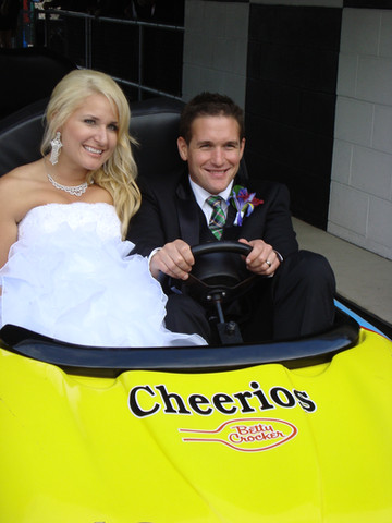 Wedding couple on go karts