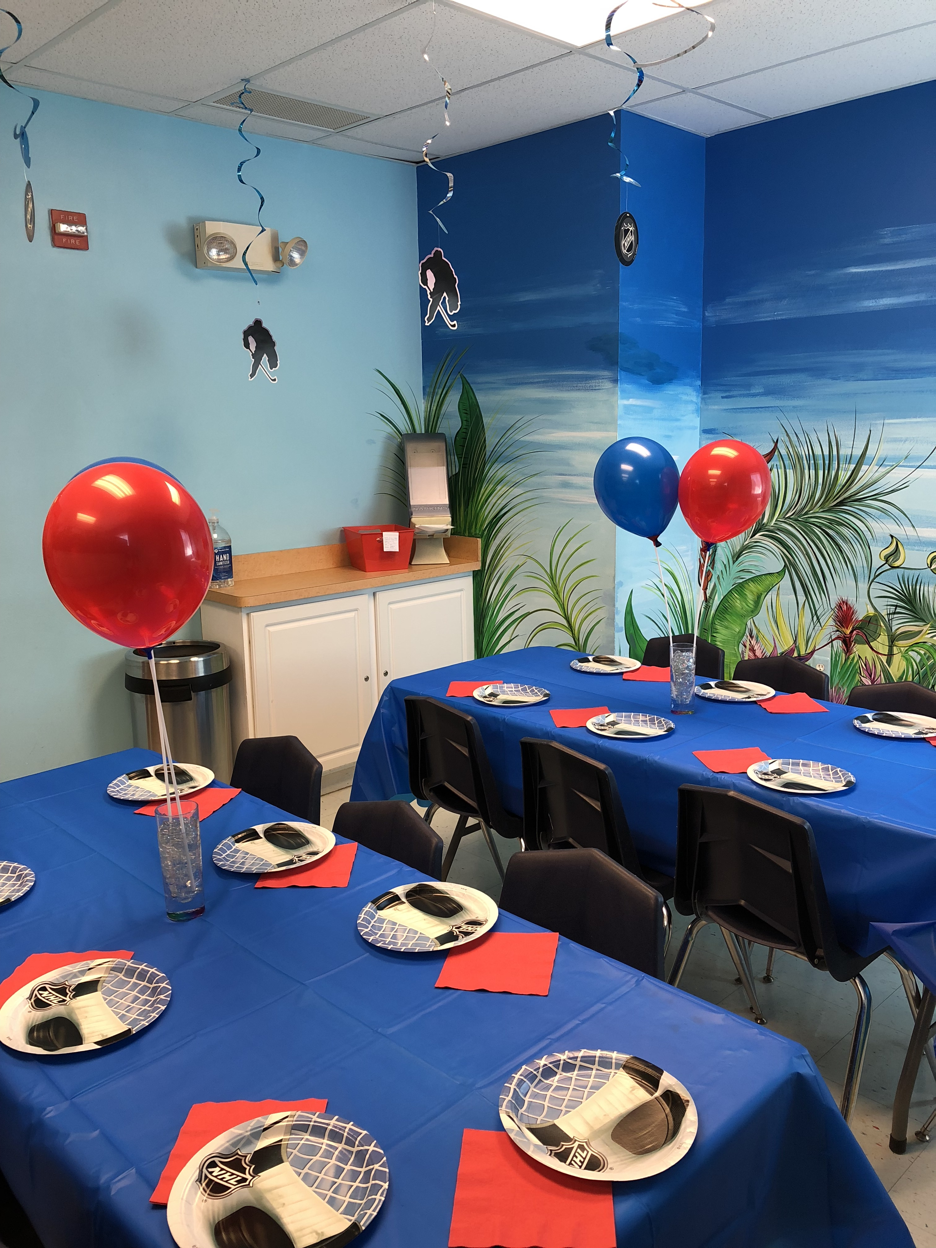 Birthday party room soccer theme