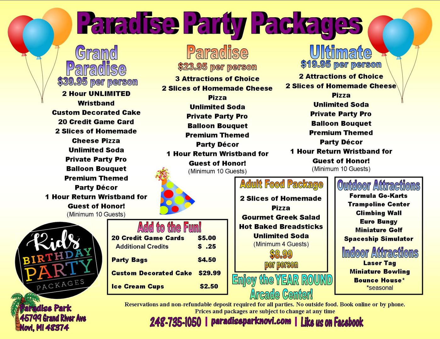 Paradise Park Party Packages