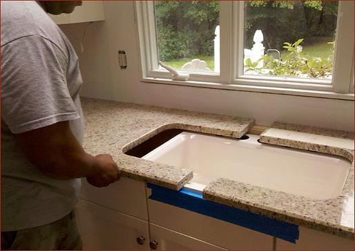 instalação pia de mármore