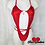 Thumbnail: Cherry Red Spandex Slingshot Bikini With Heart Connector