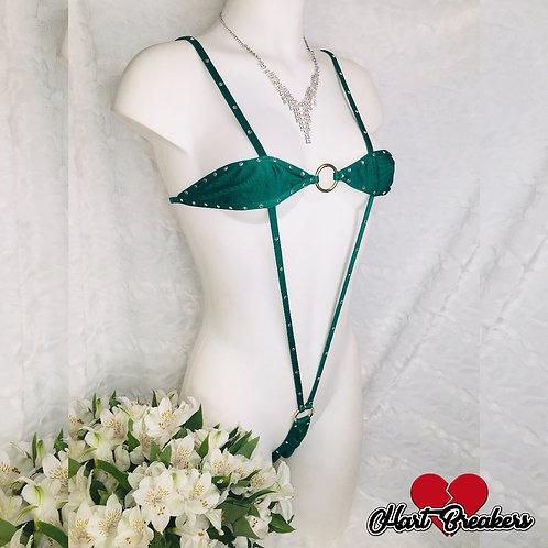 Emerald Slingshot Bikini With Crystals