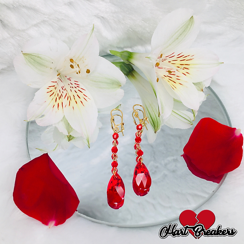 Red Crystal Dangle earrings