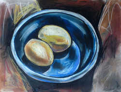 Eggs In Blue Bowl