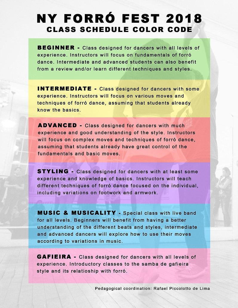 NY forró festival 2018 dance class color code syllabus