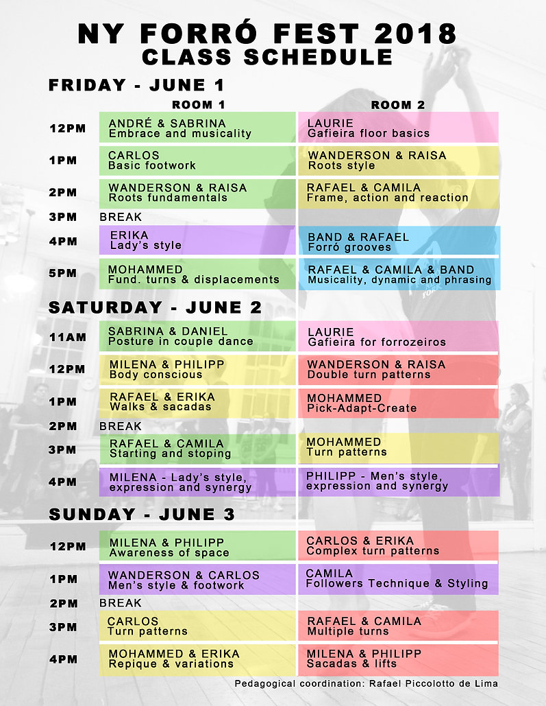 NY forró festival 2018 dance class schedule