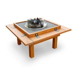 Fire Pit Table with lotus sculpture