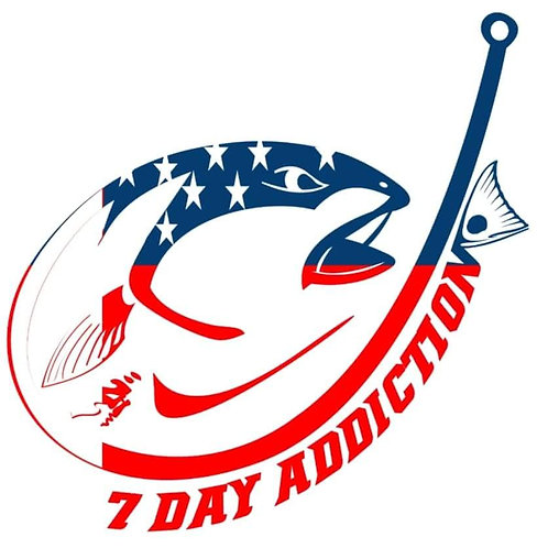 Patriotic Fish/Hook Decal 10""