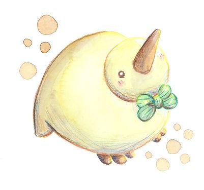 pajaro, ave, kiwi, pickchick, acuarela, ilustracion, kawaii, personaje