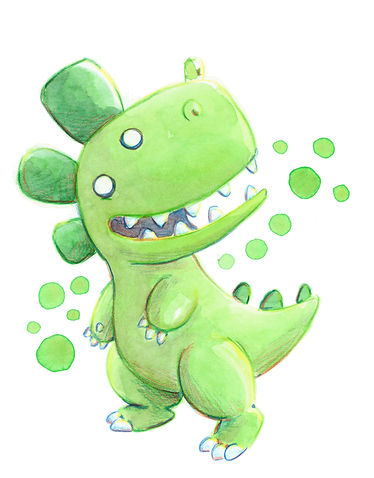 dinosaurio, da-doh, godzilla, pickchick, acuarela, ilustracion, kawaii, personaje