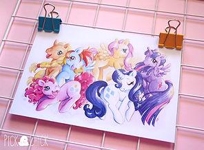 mi pequeño pony, my little pony, friendship is magic, fim, mlp, poster, lamina, print, postal, acuarela, ilustracion