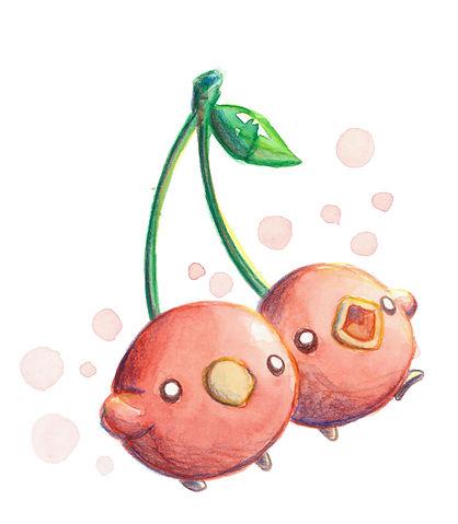 cherrybird, pajarito, cereza, pajaro, pickchick, acuarela, ilustracion, kawaii, personaje