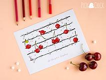 lamina, kawaii, ilustracion, musical, musica, postal, print, cuadro, poster, cerezas, pajaros, cantando