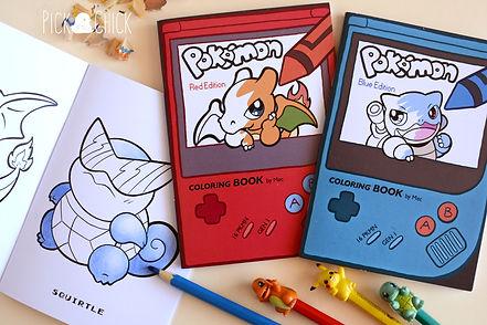 Fanzine, libro para colorear, rojo, azul, pokemon, kawaii, red, blue
