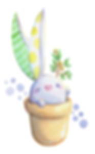 conejito plantas acuarela kawaii