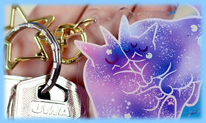 llavero, acrilico, kawaii, accesorios, gatos, galaxia, charm, colgante