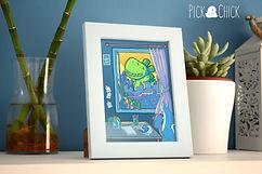 lamina, print, postal, cuadro, ilustracion, dinosaurio, kawaii, arte digital