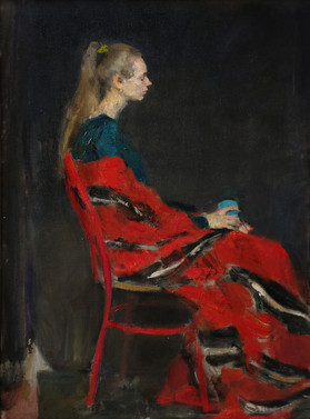 Portrait in a red blanket