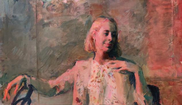 Portrait of Dasha under a red light