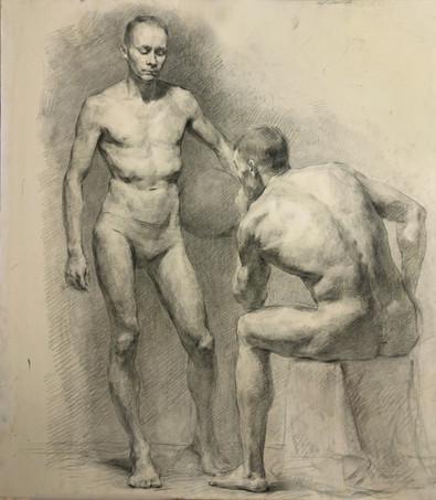 Two Nude Male Figure Study
