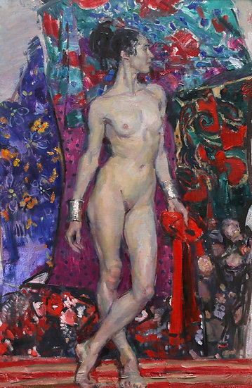 Nude Female in Blue and Violet