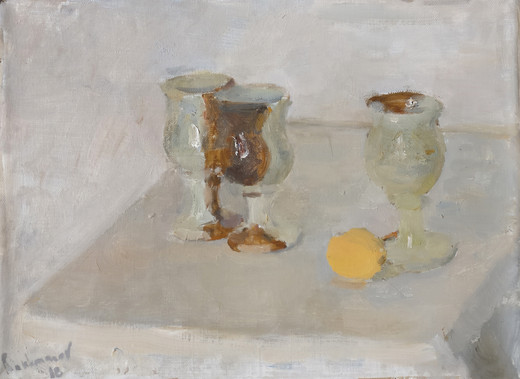 White Still Life with an Apricot