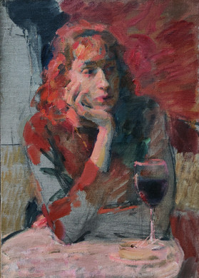 Female with a glass of wine