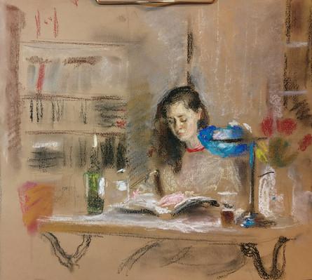 Varya reading a book
