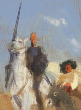 Don Quixote on a horse